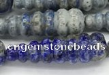 CFG1533 15.5 inches 10*35mm carved teardrop lapis lazuli beads