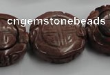 CFG226 15.5 inches 31mm carved coin red picture jasper beads