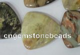 CFG532 15.5 inches 25*25mm carved triangle jasper gemstone beads