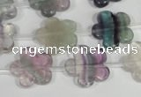 CFG660 15.5 inches 15mm carved flower fluorite gemstone beads