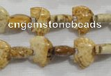 CFG778 15.5 inches 10*15mm carved animal picture jasper beads