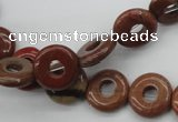 CFG905 15.5 inches 12mm carved coin donut brecciated jasper beads