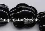 CFG956 15.5 inches 32*33mm carved flower black agate beads