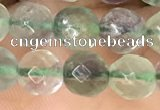 CLF1155 15.5 inches 6mm faceetd round fluorite gemstone beads