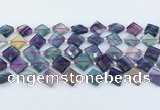 CFL1230 15.5 inches 12mm faceted diamond fluorite beads