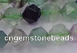 CFL1409 15.5 inches 12mm faceted nuggets fluorite gemstone beads
