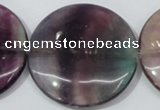 CFL171 15.5 inches 40mm flat round natural fluorite beads wholesale