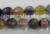 CFL405 15.5 inches 12mm faceted round rainbow fluorite beads