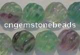 CFL459 15.5 inches 16mm carved round natural fluorite beads