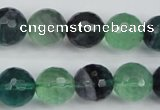CFL55 15.5 inches 14mm faceted round AB grade natural fluorite beads