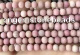 CFW36 15.5 inches 6mm round matte pink wooden jasper beads