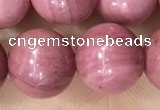 CFW54 15.5 inches 12mm round natural pink wooden jasper beads