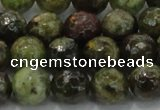 CGA149 15.5 inches 10mm faceted round natural green garnet beads