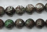 CGA315 15.5 inches 14mm faceted round red green garnet gemstone beads