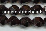 CGA452 15.5 inches 10mm faceted nuggets natural red garnet beads
