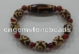 CGB105 Tibetan agate dZi beads & red agate beads stretchy bracelet