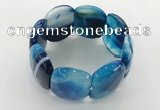 CGB3521 7.5 inches 28*40mm faceted oval agate bracelets