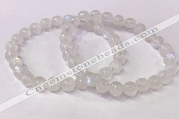 CGB4505 7.5 inches 7mm - 8mm round white moonstone beaded bracelets