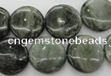 CGH19 15.5 inches 14mm flat round green hair stone beads wholesale