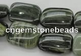 CGH28 15.5 inches 13*18mm rectangle green hair stone beads wholesale