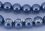 CGL235 5PCS 16 inches 10mm round dyed glass pearl beads wholesale