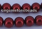CGL326 5PCS 16 inches 12mm round dyed glass pearl beads wholesale