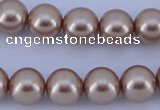 CGL356 5PCS 16 inches 12mm round dyed glass pearl beads wholesale