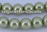 CGL366 5PCS 16 inches 12mm round dyed glass pearl beads wholesale