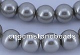 CGL375 5PCS 16 inches 10mm round dyed glass pearl beads wholesale