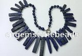 CGN193 23 inches 8*20mm - 11*60mm lapis lazuli stick necklaces