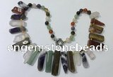 CGN196 23 inches 8*20mm - 11*60mm mixed gemstone stick necklaces