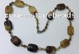 CGN233 22 inches 6mm round & 18*25mm rectangle agate necklaces