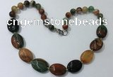 CGN256 20.5 inches 8mm round & 18*25mm oval agate necklaces