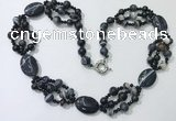 CGN295 24.5 inches chinese crystal & black agate beaded necklaces
