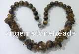 CGN362 19.5 inches chinese crystal & yellow tiger eye beaded necklaces