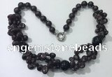 CGN375 19.5 inches round & chips garnet beaded necklaces