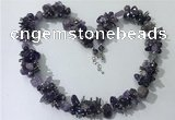 CGN403 19.5 inches chinese crystal & amethyst chips beaded necklaces