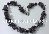CGN407 19.5 inches chinese crystal & garnet chips beaded necklaces