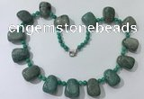CGN443 21.5 inches freeform amazonite beaded necklaces