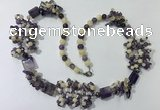 CGN451 25.5 inches chinese crystal & mixed gemstone beaded necklaces