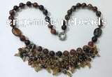 CGN476 21.5 inches chinese crystal & striped agate beaded necklaces