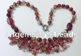CGN479 21.5 inches chinese crystal & striped agate beaded necklaces