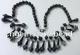 CGN497 21 inches chinese crystal & striped agate beaded necklaces