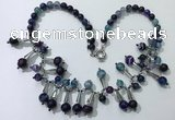 CGN498 21 inches chinese crystal & striped agate beaded necklaces