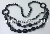 CGN603 23.5 inches striped agate gemstone beaded necklaces
