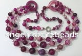 CGN623 24 inches chinese crystal & striped agate beaded necklaces