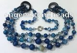 CGN627 24 inches chinese crystal & striped agate beaded necklaces