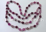 CGN653 22 inches chinese crystal & striped agate beaded necklaces
