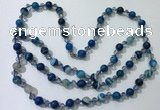 CGN656 22 inches chinese crystal & striped agate beaded necklaces