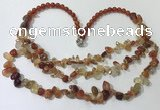 CGN700 22.5 inches chinese crystal & red agate beaded necklaces